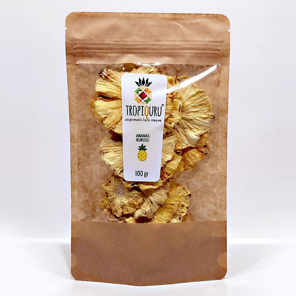 Tropiquru Atıştırmalık Dilimlenmiş Kurutulmuş Ananas 100 G