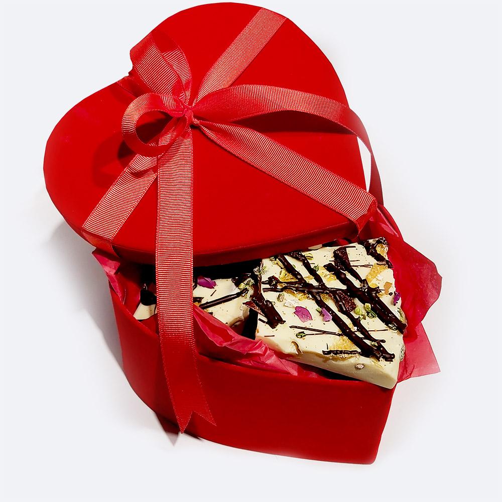 Kırmızı Kadife Kalp Kutuda Belçika Çikolatası